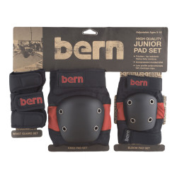 Bern Junior Pad Set red on black