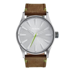 Nixon Sentry 38 Leather brown/lime