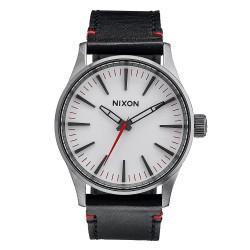 Nixon Sentry 38 Leather gunmetal/white
