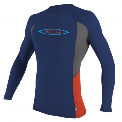 O'Neill Skins Graphic L/s Crew navy/graphite/neon red