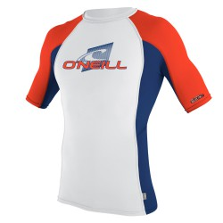O'Neill Skins S/s Crew white/navy/neon red