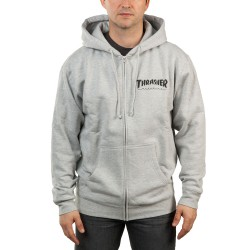 Thrasher Magazine Logo Zip Hood grey
