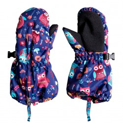 Roxy Snows Up Mitt little owl blue print