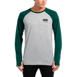 Mons Royale Coreshot Raglan Ls green/grey marl