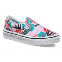 Vans Classic Slip-On Kids tropical leaves pink
