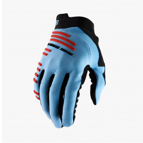 Go to the product Bike glove 100% R-Core light blue/fluo red 2020