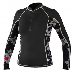 Go to the product Lycra O'Neill Wms Front Zip L/S Rash black/albany floral/champagne 2018