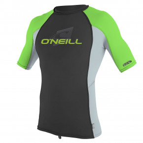 Go to the product Lycra O'Neill Youth Premium Skins S/s Rash black/cool grey/dayglo 2019