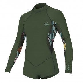 Go to the product Wetsuit O'Neill Girls Bahia 2/1 BZ L/S Short Spr darkolive/baylen/black 2020