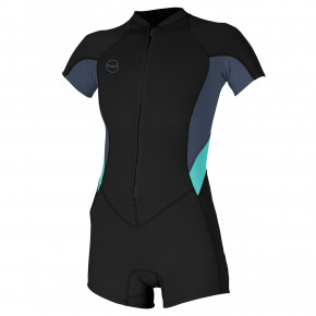 Go to the product Wetsuit O'Neill Wms Bahia Fz 2/1 S/s Short Sprin black/dusk/seaglass 2019