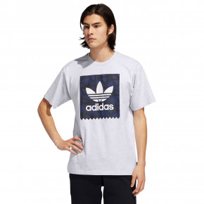 Go to the product T-shirt Adidas Print BB light grey heather/black/navy 2019