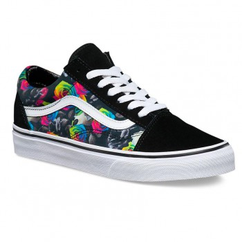 Vans Old Skool rainbow floral black white  1ce728ee84