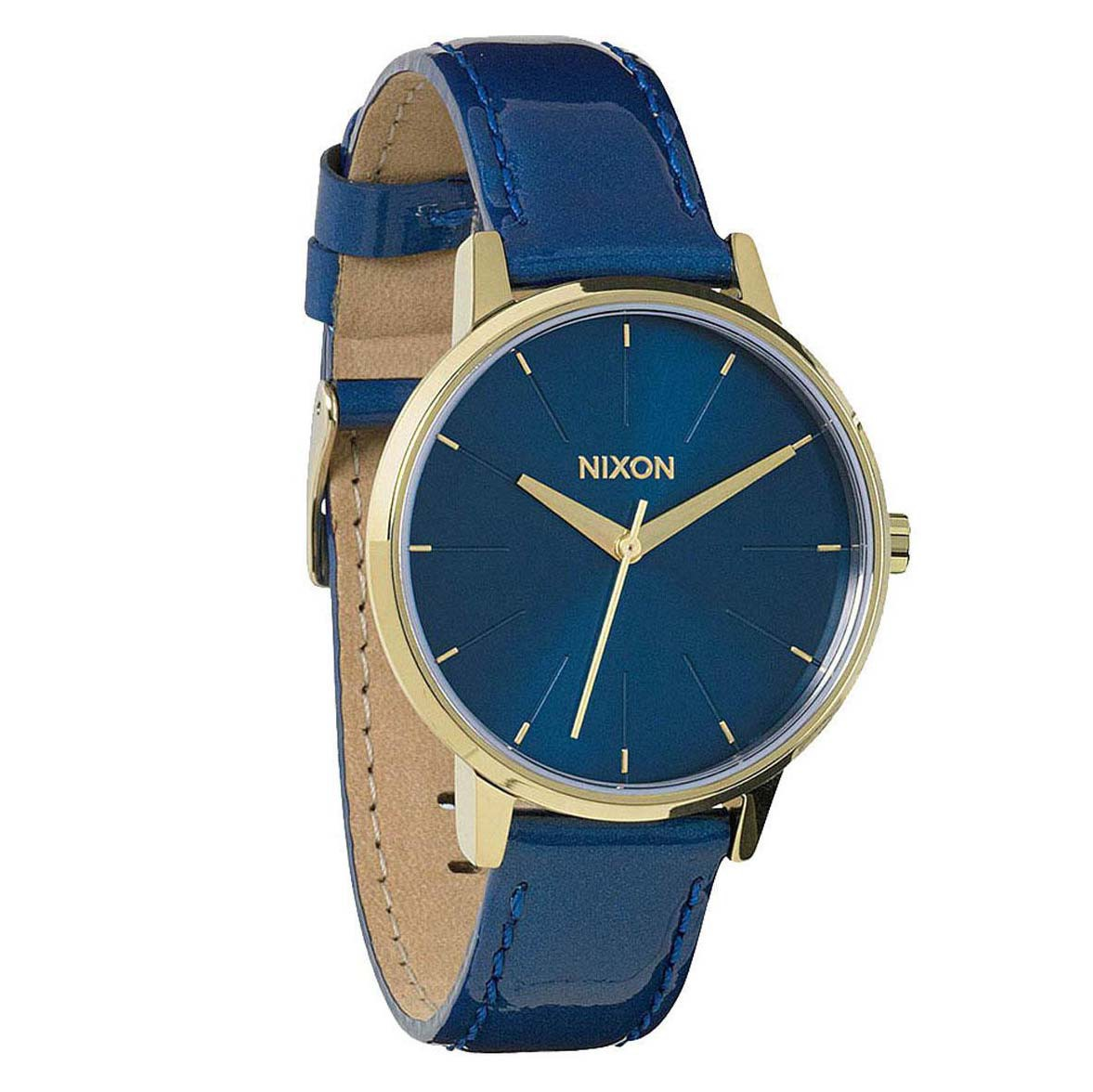 Hodinky Nixon Kensington Leather blue/light gold patent