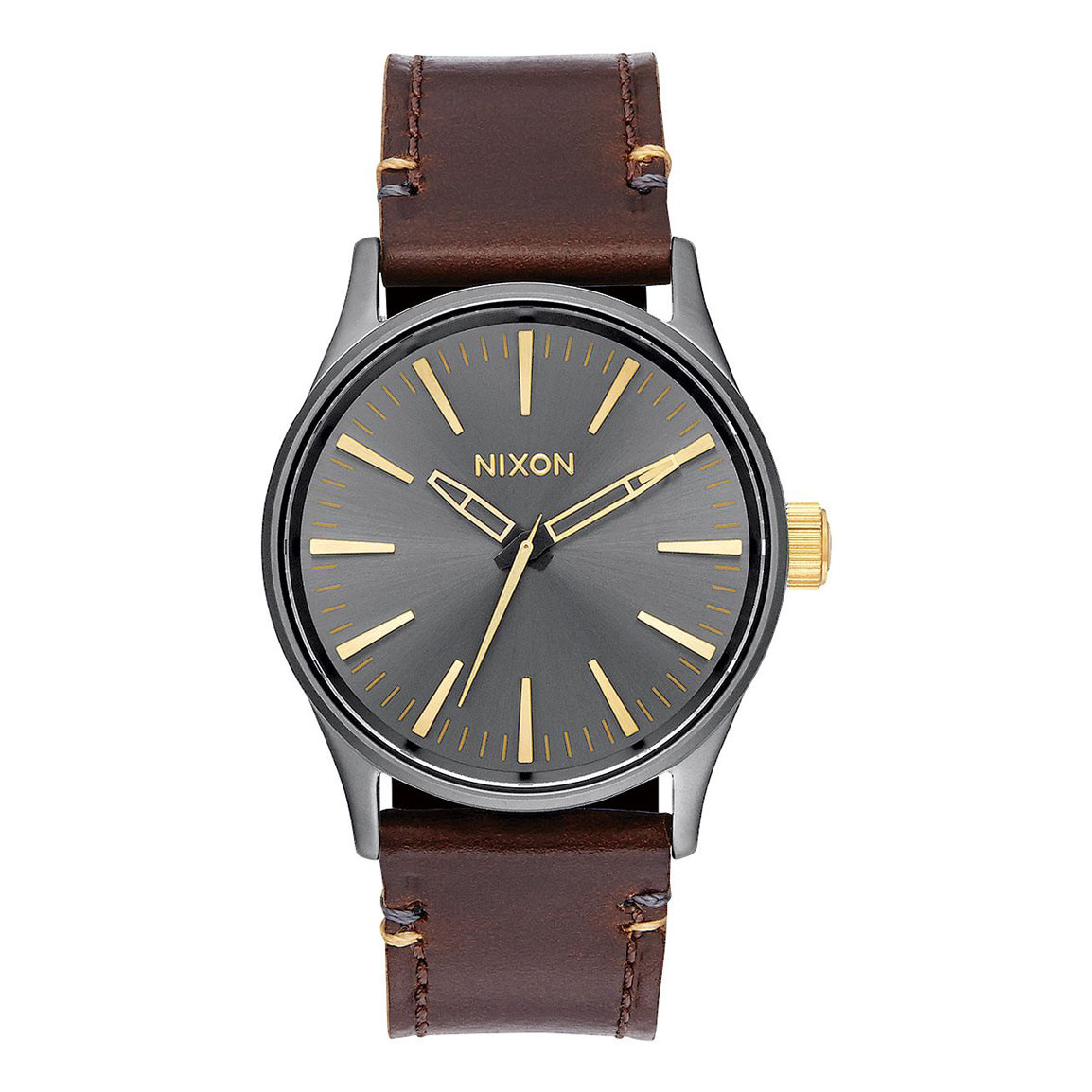 Hodinky Nixon Sentry 38 Leather gunmetal/gold
