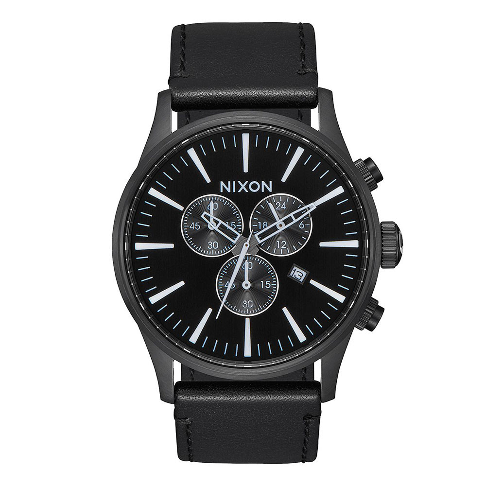Hodinky Nixon Sentry Chrono Leather all black/white