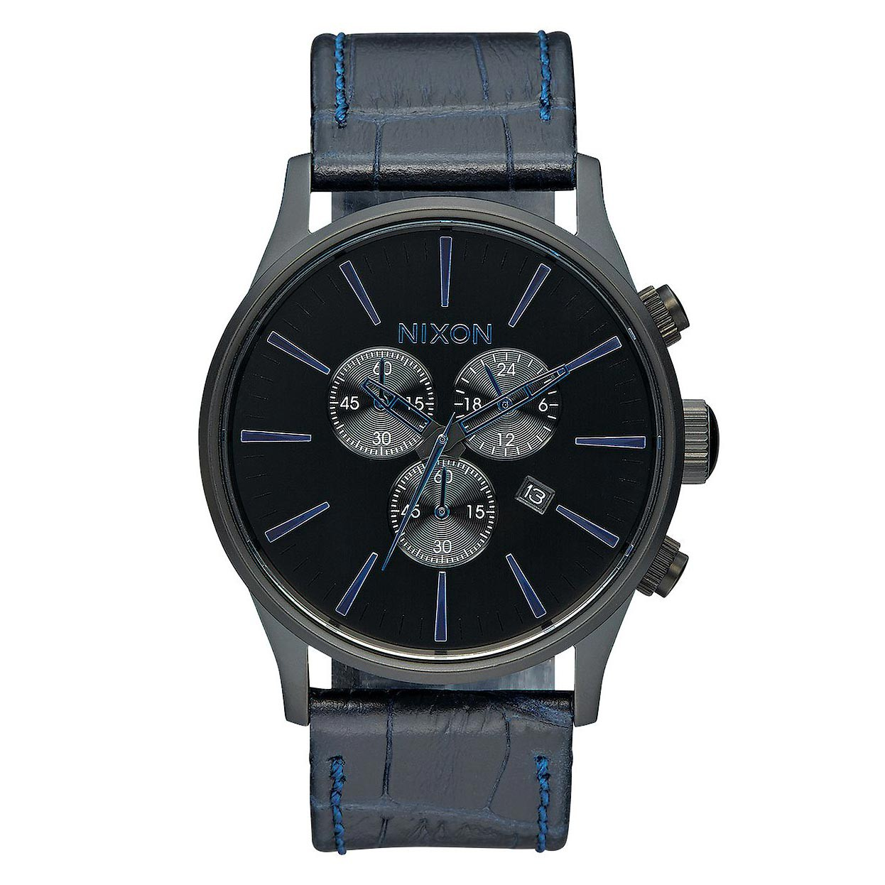 Hodinky Nixon Sentry Chrono Leather navy gator