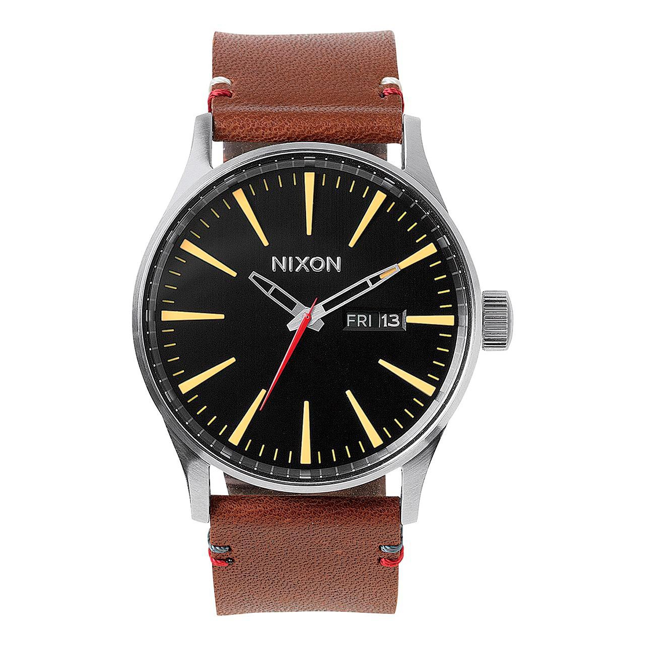 Hodinky Nixon Sentry Leather black/brown
