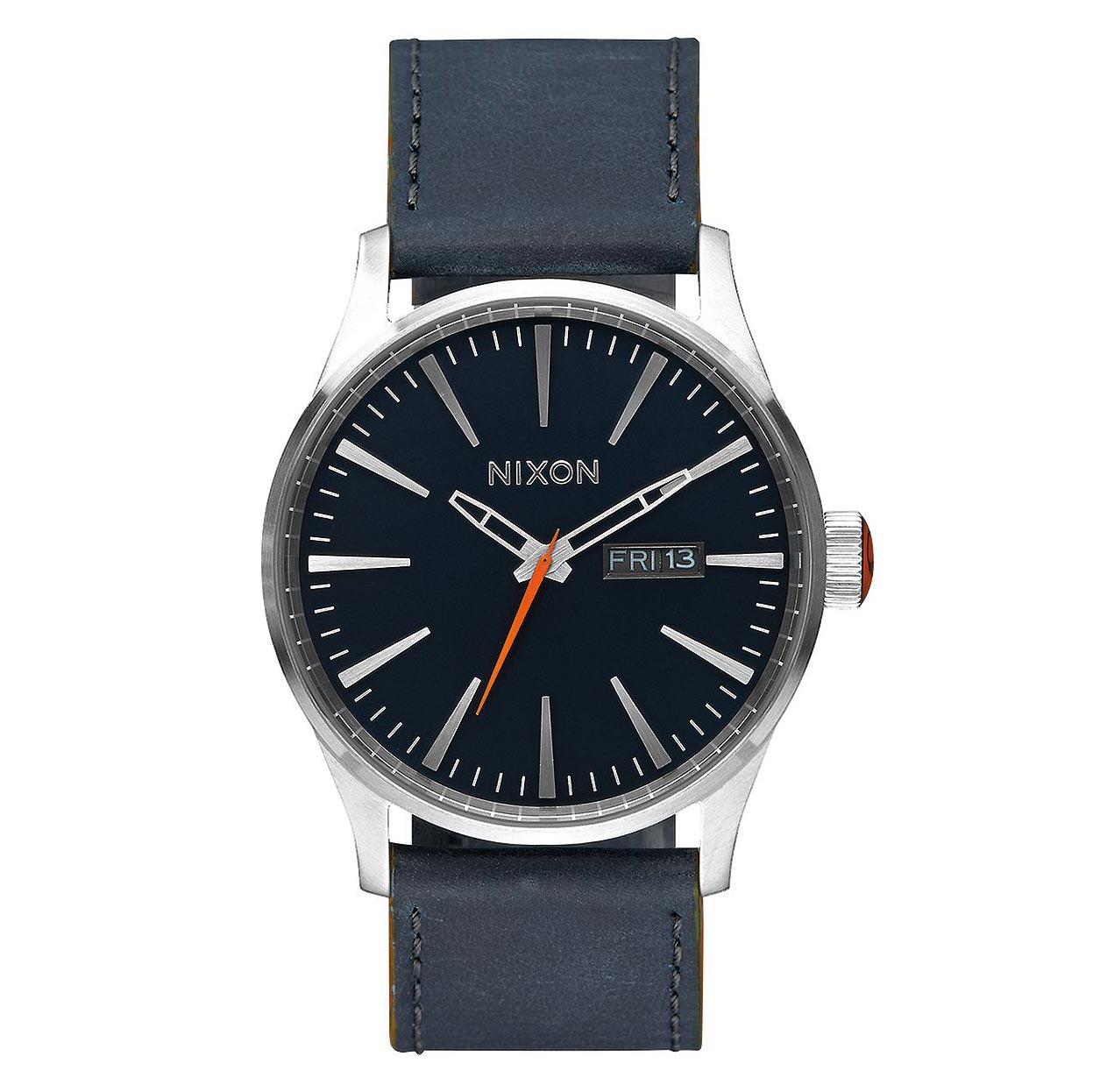Hodinky Nixon Sentry Leather blue/orange