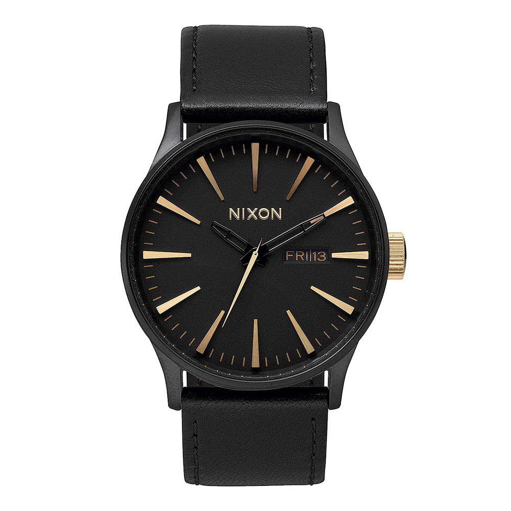 Hodinky Nixon Sentry Leather matte black/gold