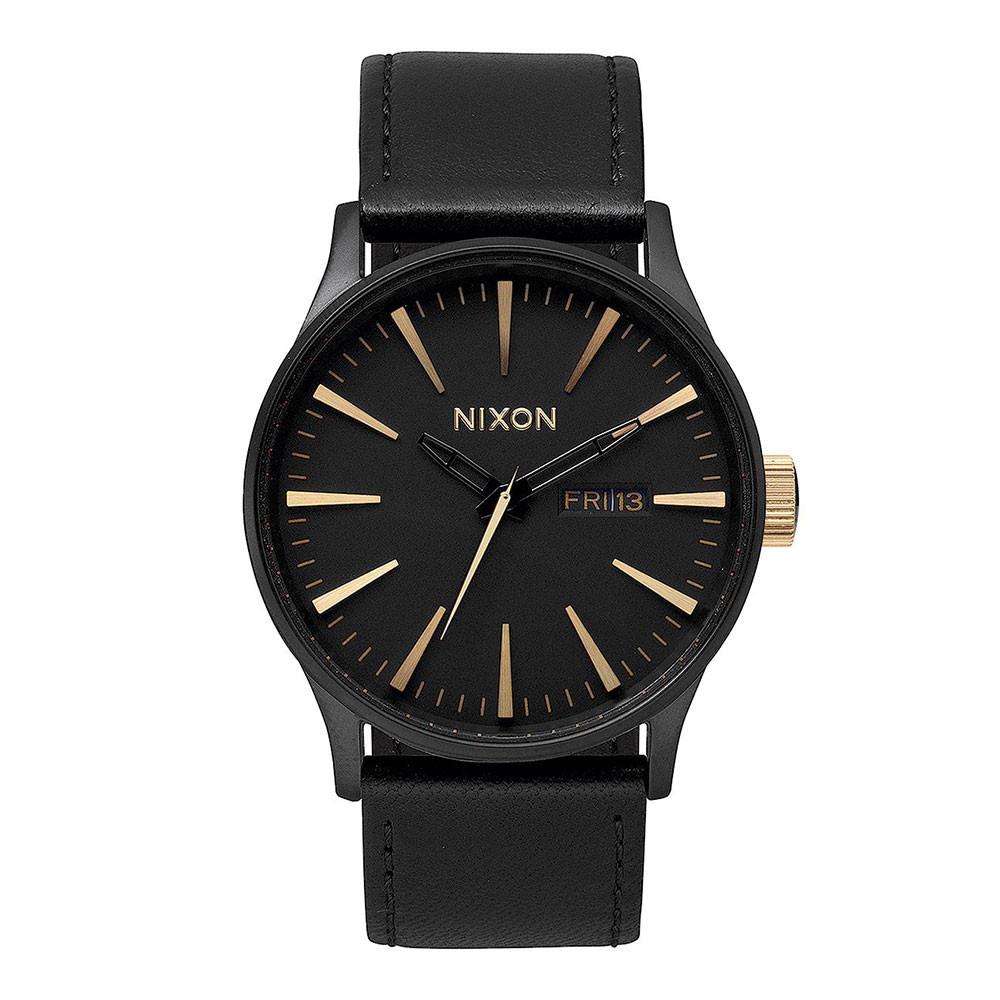 Hodinky Nixon Sentry Leather matte black/gold