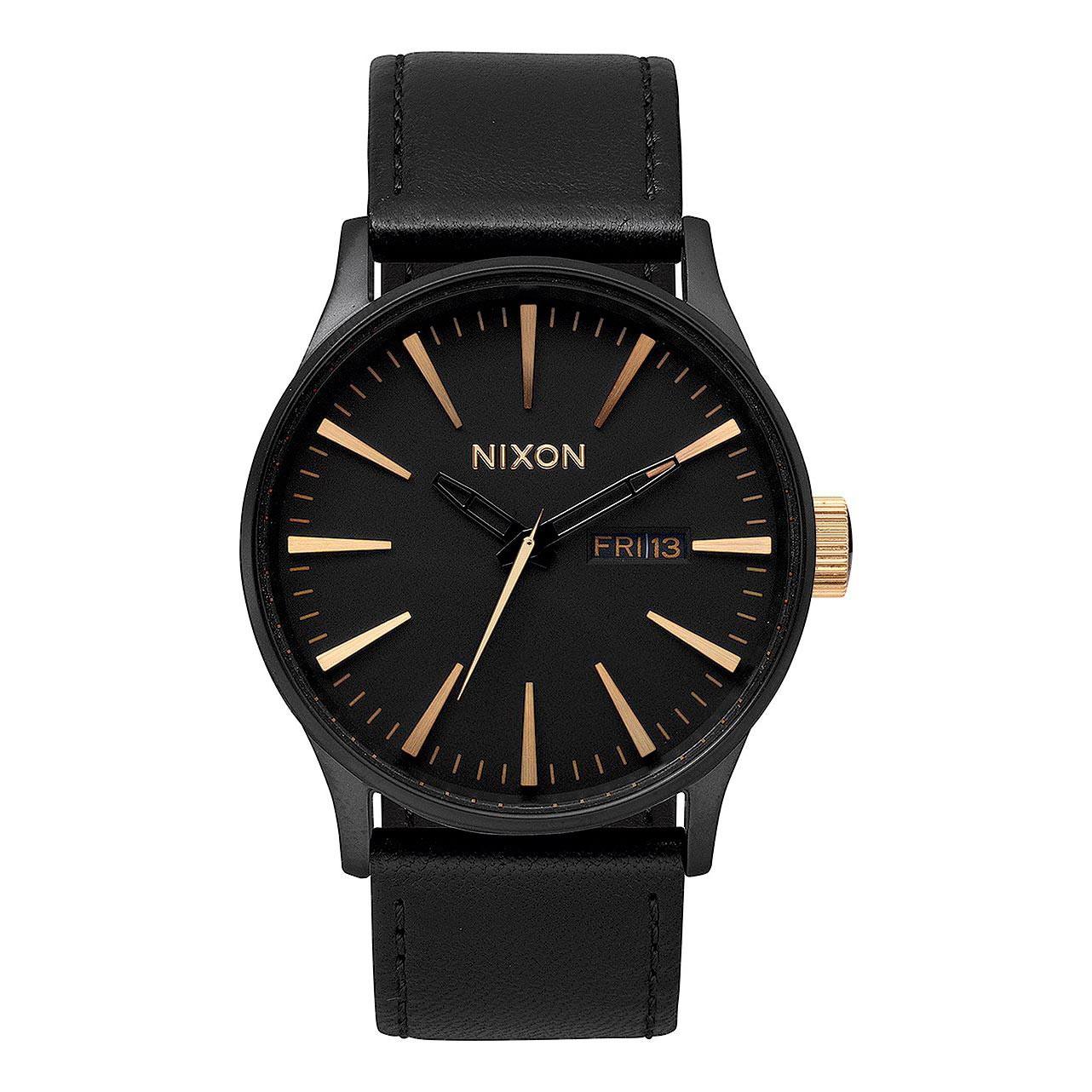 Hodinky Nixon Sentry Leather matte black/gold vel.kůže 16 + doručení do 24 hodin