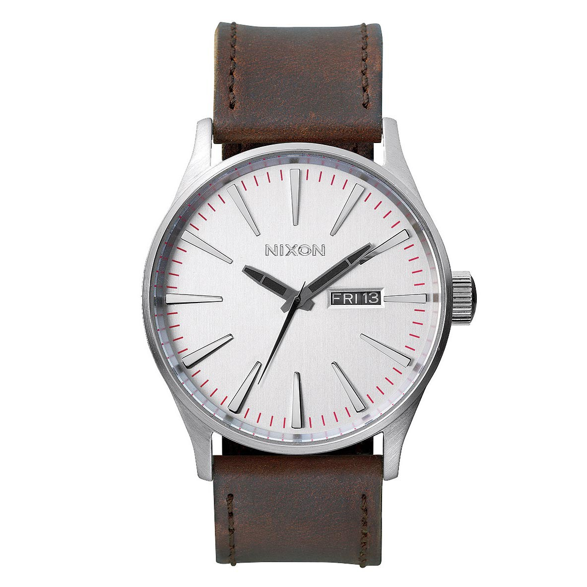 Hodinky Nixon Sentry Leather silver/brown