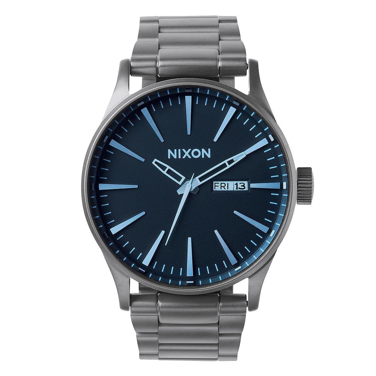 Hodinky Nixon Sentry SS gunmetal/blue crystal vel.ocel 16 + doručení do 24 hodin