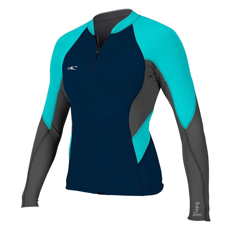 Neoprén O'Neill Wms Bahia 1/0,5 Front-Zip Jacket slate/graphite/light aqua