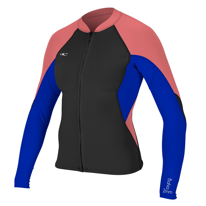 Neoprén O'Neill Wms Bahia 1/0,5 Full-Zip Jacket black/tahitian blue/coral