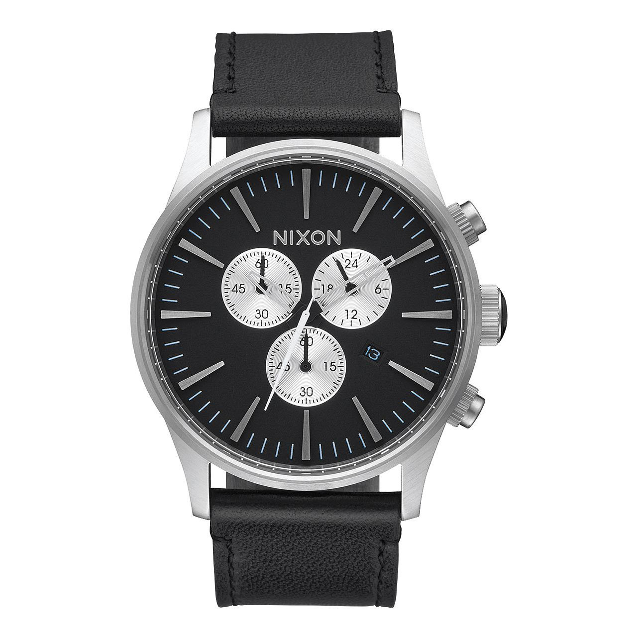 Hodinky Nixon Sentry Chrono Leather black