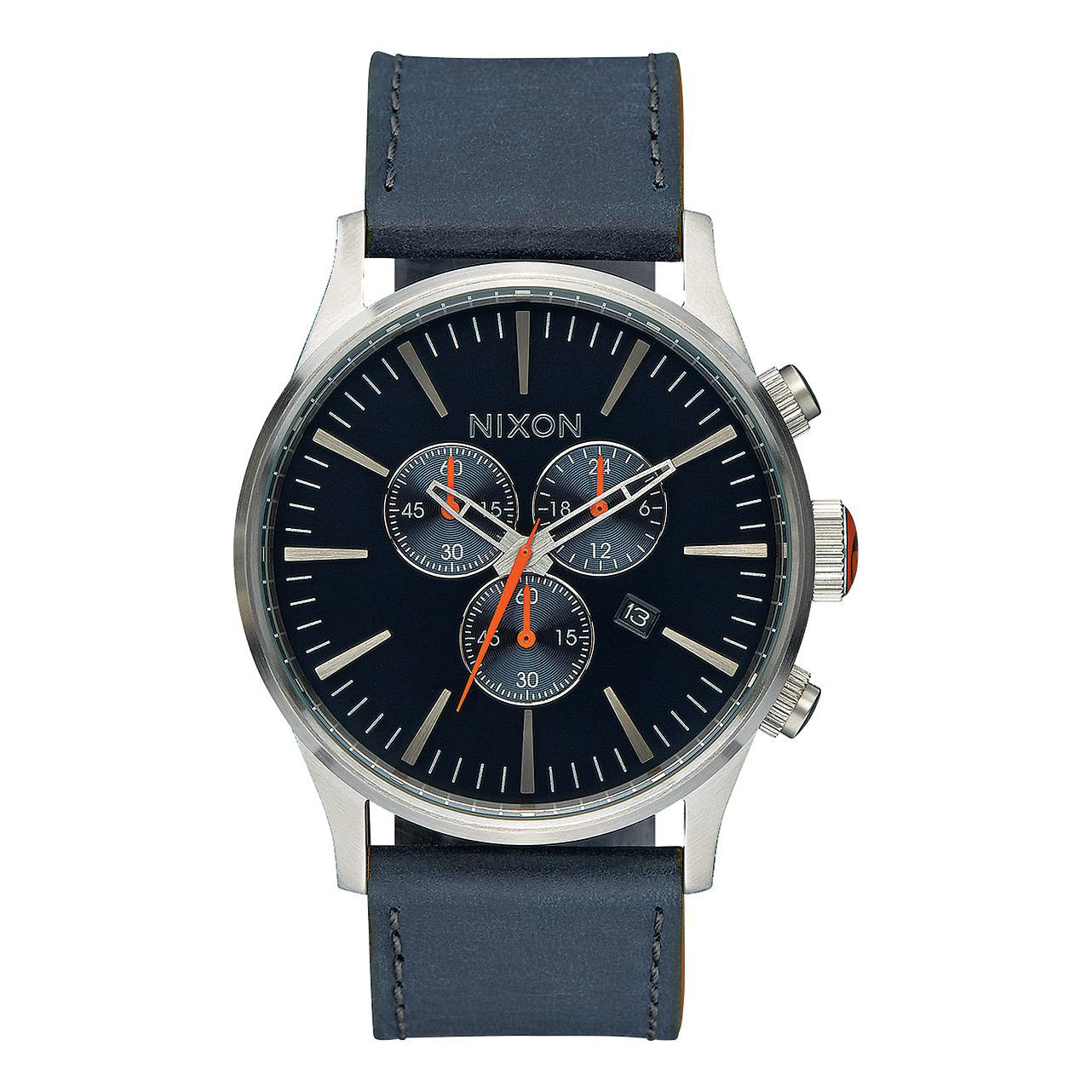 Hodinky Nixon Sentry Chrono Leather blue/orange