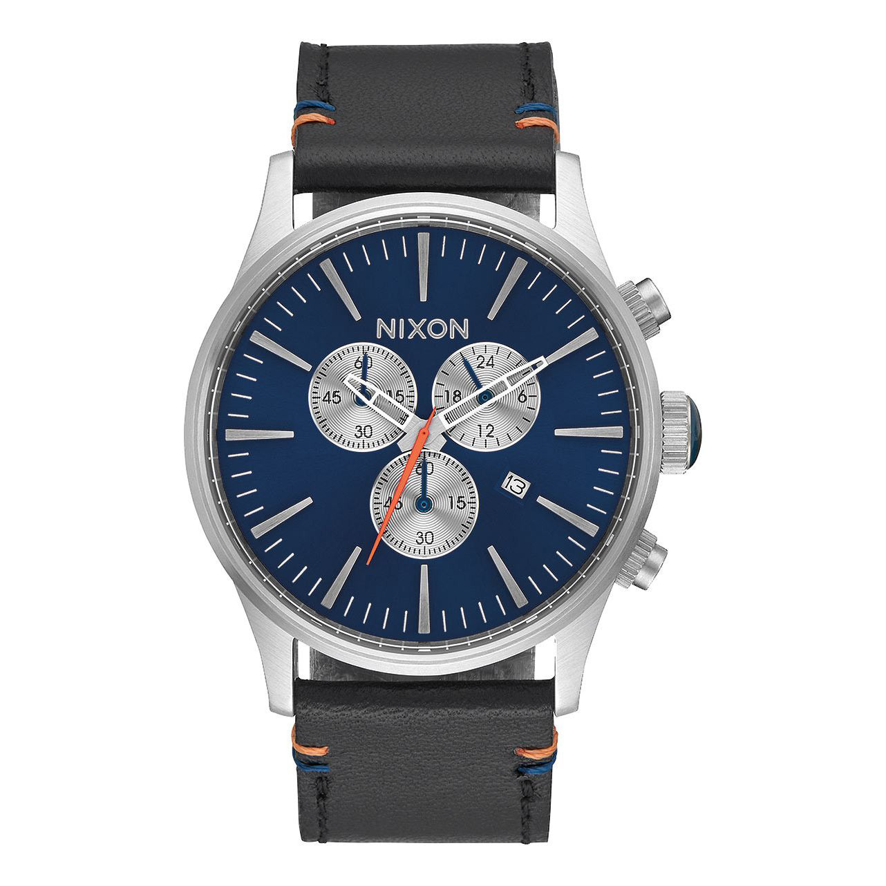 Hodinky Nixon Sentry Chrono Leather blue sunray