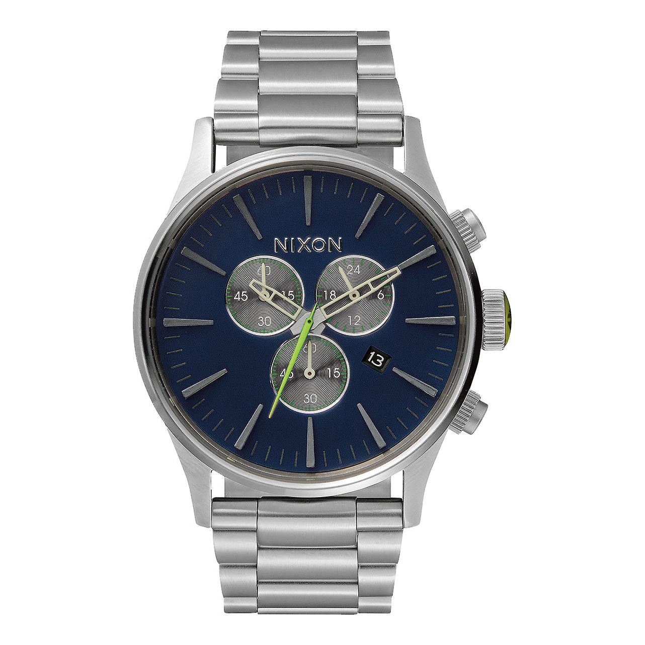 Hodinky Nixon Sentry Chrono midnight blue/volt green