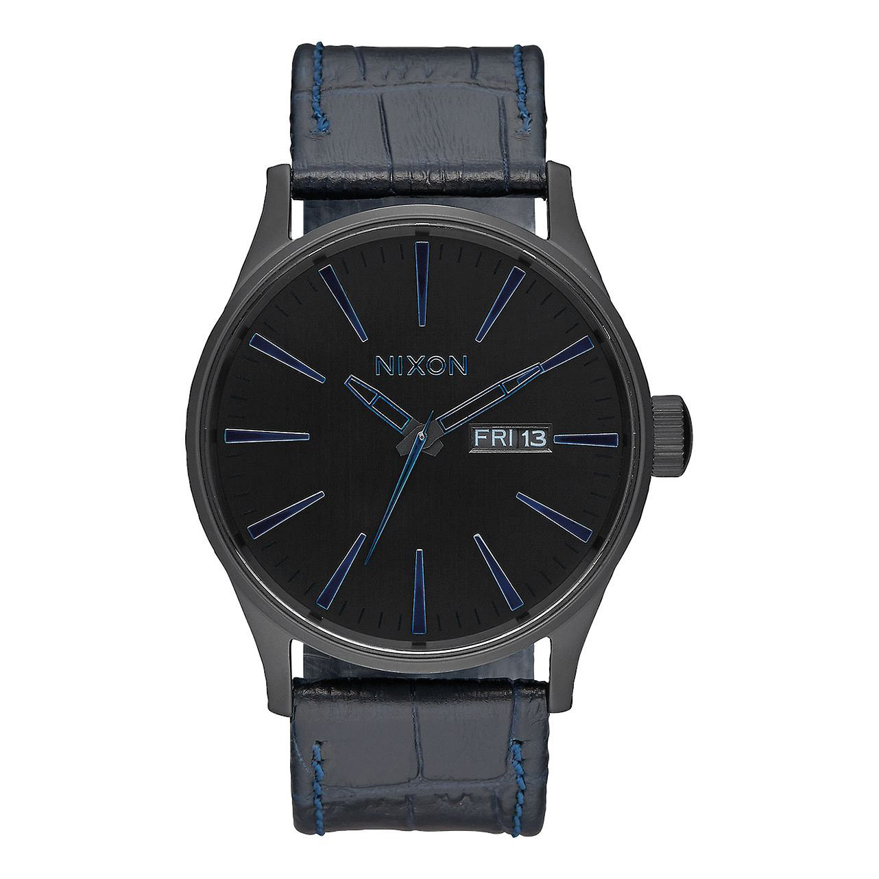 Hodinky Nixon Sentry Leather navy gator