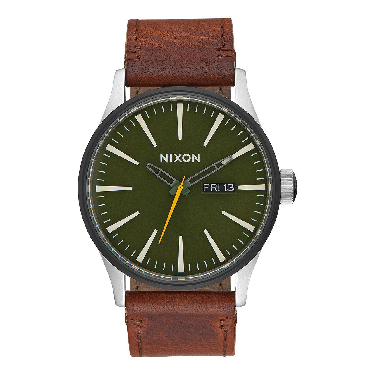 Hodinky Nixon Sentry Leather surplus/brown