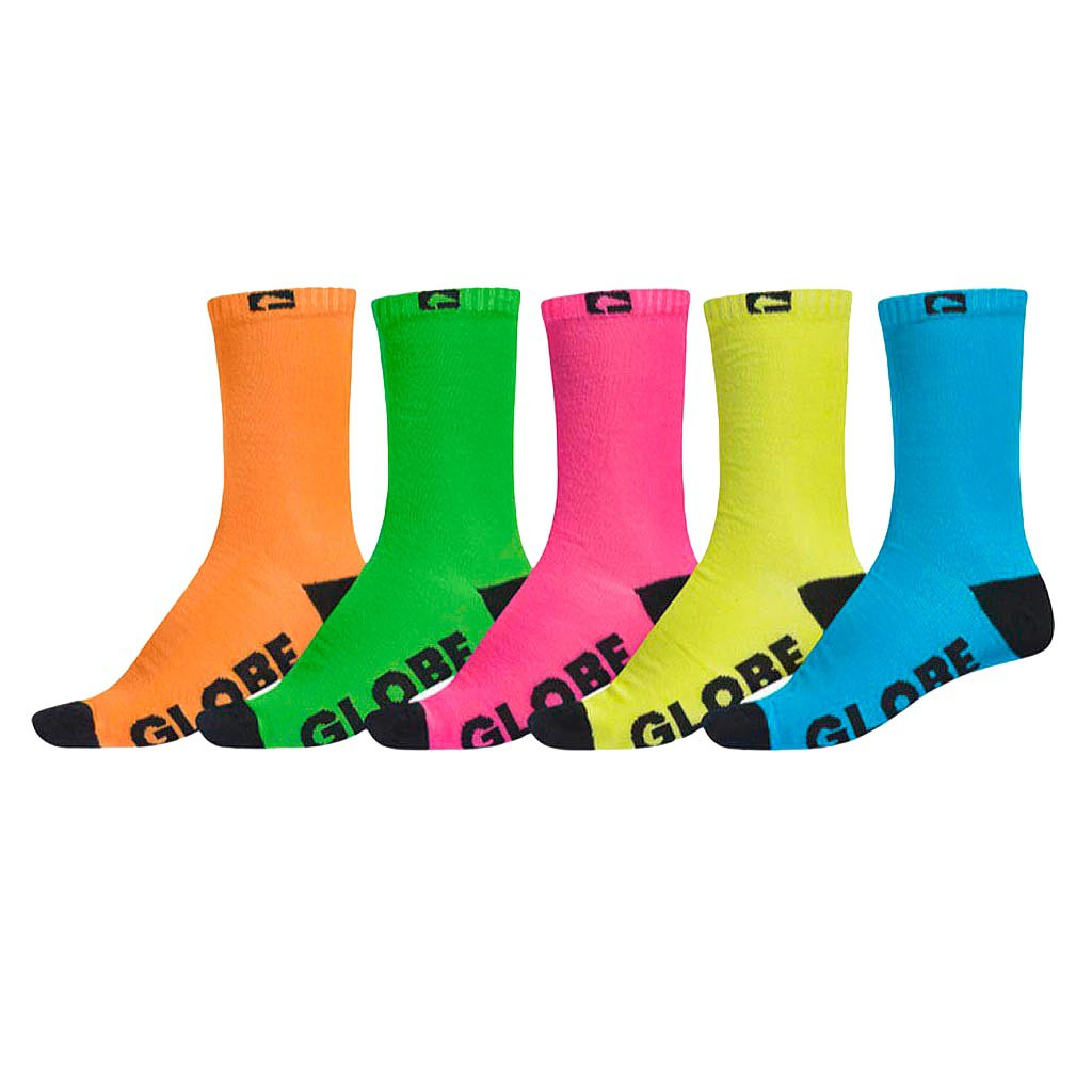 Ponožky Globe Neon Crew Sock 5 Pack assorted
