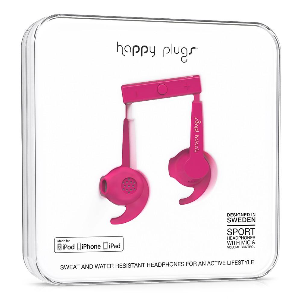 Sluchátka Happy Plugs In-Ear Sport Mfi cerise