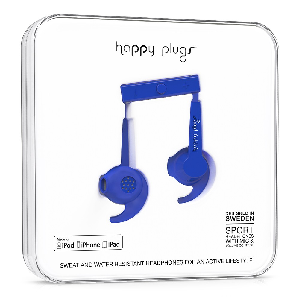 Sluchátka Happy Plugs In-Ear Sport Mfi cobalt