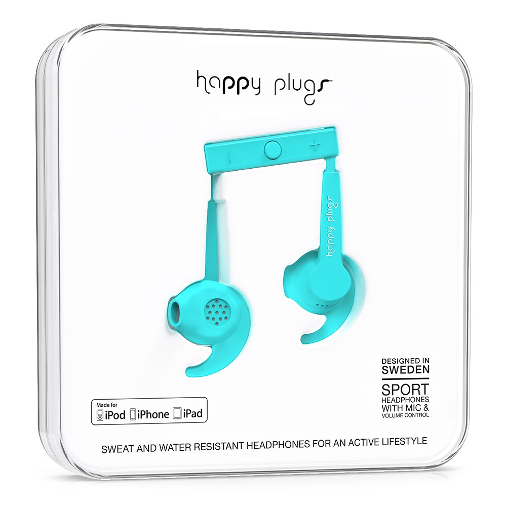 Sluchátka Happy Plugs In-Ear Sport Mfi turquoise