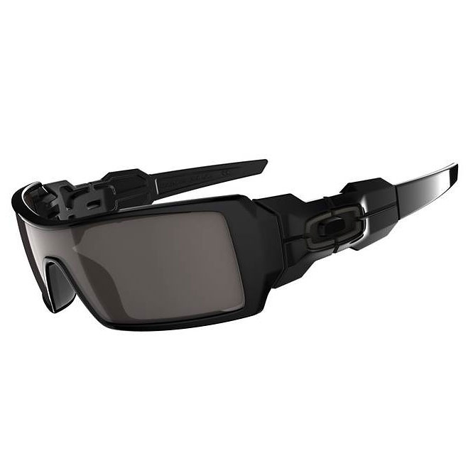 Oakley Oil Rig Sunglasses Polished Black Silver Ghost Text