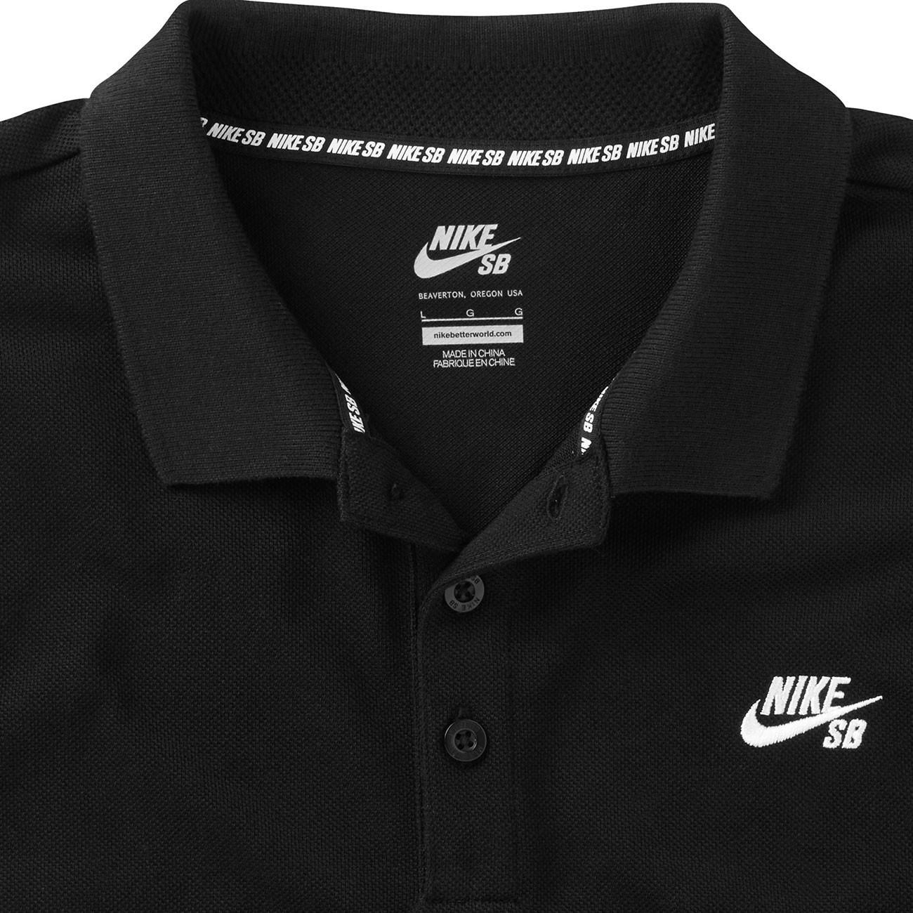 T-shirt Nike SB Pique Polo black white  875309922a20