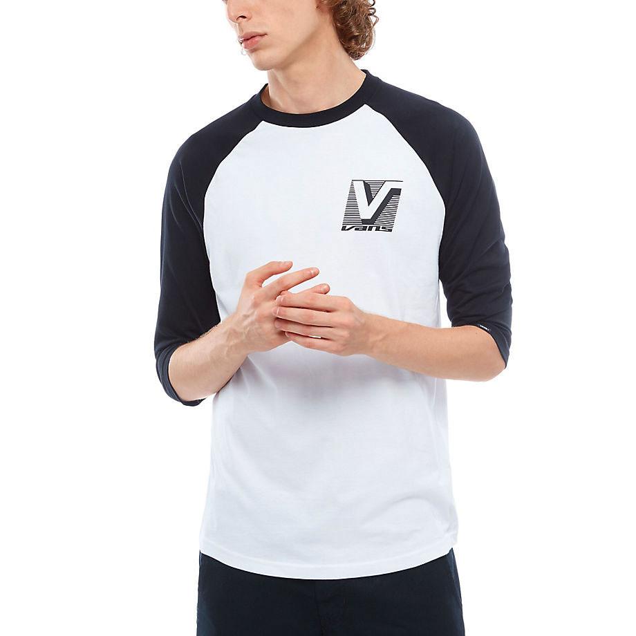 3b56fff27c6575 T-shirt Vans Grand Vans Raglan white black