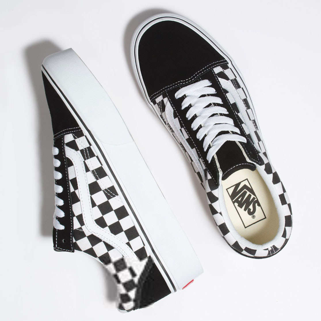 8aa52a7e6d47 Sneakers Vans Old Skool Platform checkerboard black true white ...