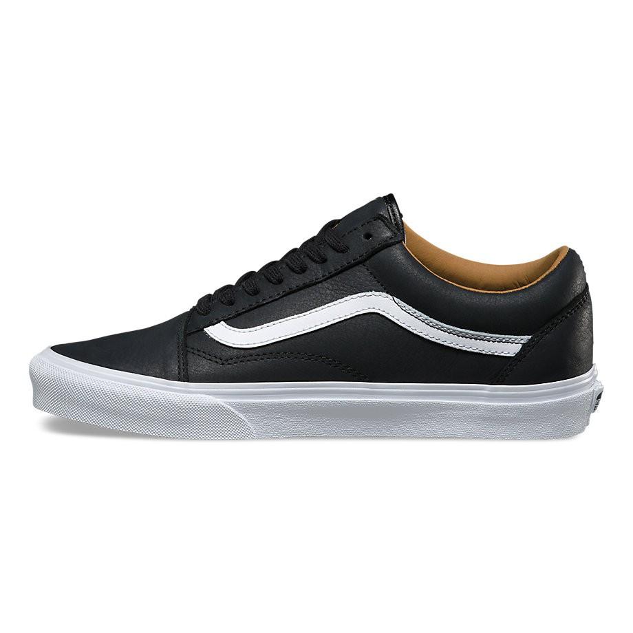 sneakers vans old skool premium leather black true white. Black Bedroom Furniture Sets. Home Design Ideas