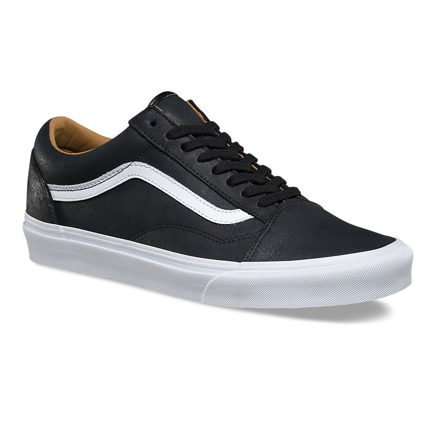 vans old skool premium leather black true white. Black Bedroom Furniture Sets. Home Design Ideas