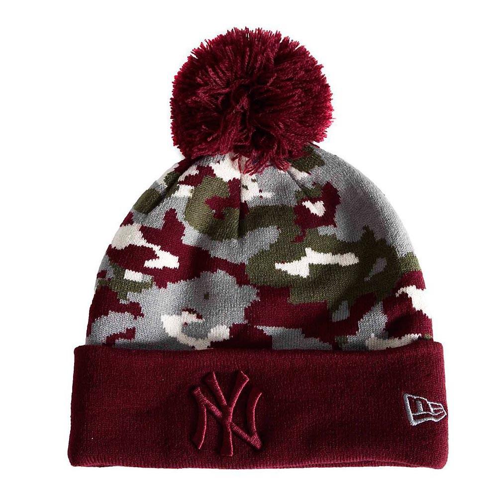 Zimní čepice New Era New York Yenkees Seasonal Bobbl burgundy camouflage